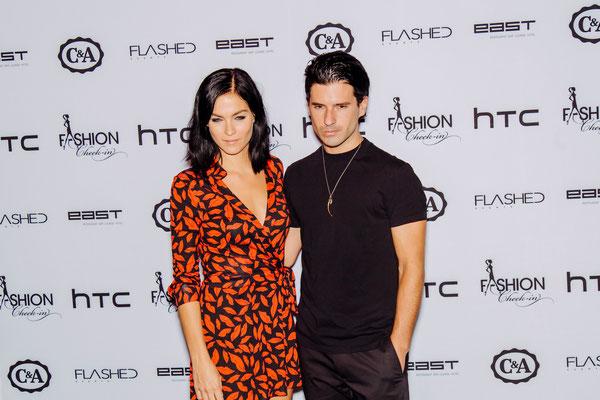 """Topmodel und """"The Misshades""""-DJane Leigh Lezark mit ihrem Kollegen Geordon Nicol"""