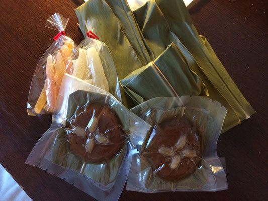 月桃の葉で包んで蒸したお餅・ムーチー。