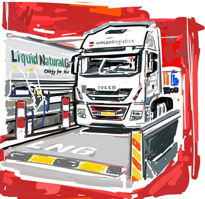 MESSE Kunst VINCENT Logistics -  digital gezeichnet, auf Leinwand gedruckt - 60x60cm