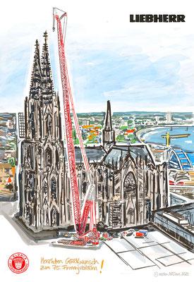 LIEBHERR Auftragskunst Colonia -  digital gezeichnet, auf Leinwand gedruckt - 80x120cm