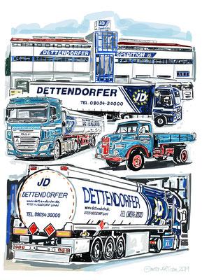 Dettendorfer Kunstwerk -  digital gezeichnet, auf Leinwand gedruckt - 80x120cm