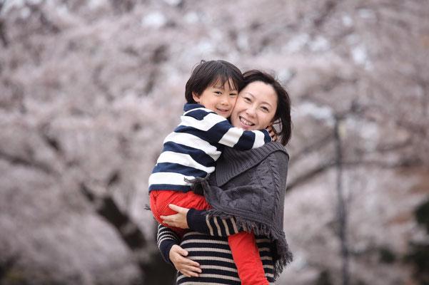 桜と一緒に、親子撮影会