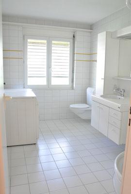 Badezimmer 1 mit Dusche, WC, Lavabo und Waschmaschine und Tumbler
