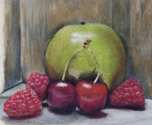 Stilleven fruit - Pastelpotlood op Uart - afm. ca 13x18 - te koop