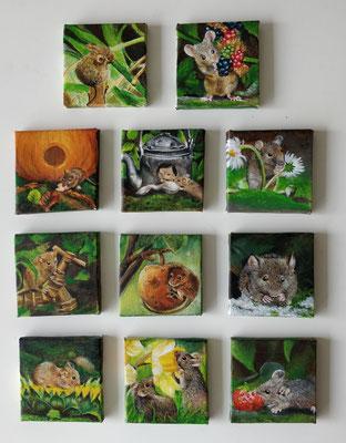 Kleine schilderijtjes met muisjes - Acrylverf op 3D-canvas - afm.p.st. 7x7cm - te koop