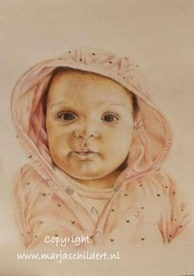 kleinkind - kleurpotlood op schetsboekpapier - afm. A4 - niet te koop