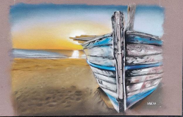 Bootje - Pastelpotlood - afm. ca. 13x18cm - te koop