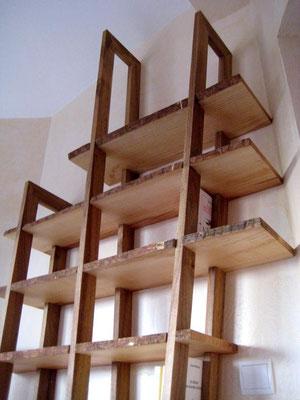 L'Atelier Marquis - Mobilier sur-mesure - Bibliothèque frêne et noyer