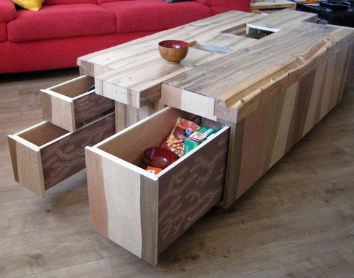L'Atelier Marquis - ébénisterie d'art - Table basse à tiroirs camouflés
