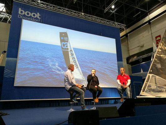 Auf der Bühne der boot Düsseldorf 2017 mit Andreas Deubel