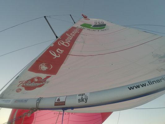 die Classe Mini Flagge hängt oben im Mast