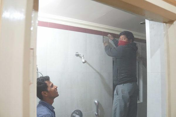 Die Handwerker waren heute Morgen dann fix mit der Reparatur beschäftigt...