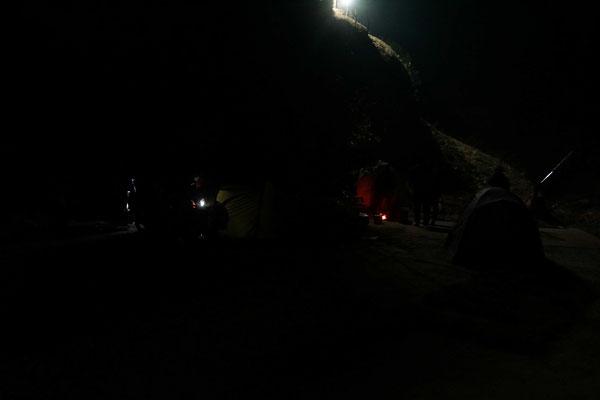 Unser Lagerplatz bei Nacht...