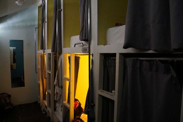 Die Kojen im 8er-Dorm...