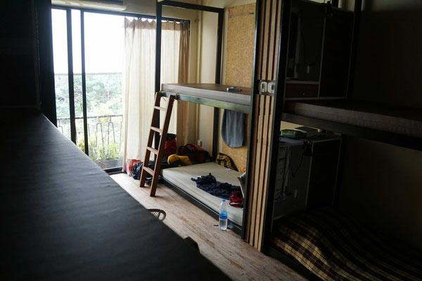 Mein Bett im Homestay in Bangkok im Schlafsaal (den ich aktuell für mich alleine habe)...