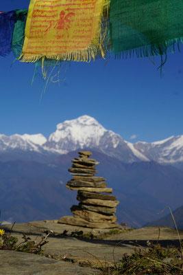Blick auf die Annapurnagipfel...