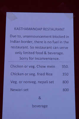 Heute wurde ich erstmals mit der Blockade der Grenze zu Indien konfrontiert...