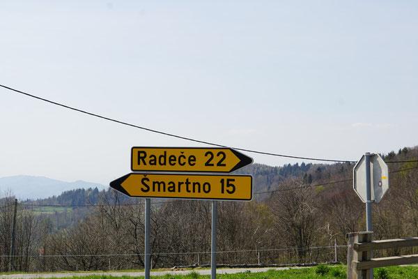Von Smartno komme ich her - nach Radece will ich - alles im grünen Bereich...