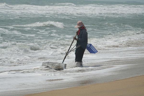 Das Drahtgeflecht wird durch den Sand gezogen...