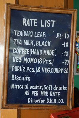 Preisliste im Bahnhofrestaurant in Darjeeling...