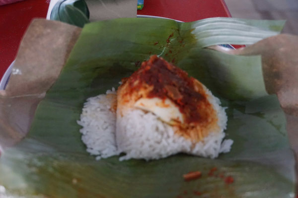... Reis mit einer Sauce aus Fleisch und Fisch oder so - die Überraschung ist dem Wirt nur halb so gut gelungen...