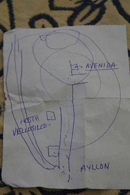 Ihr wärt doch auch so gefahren - oder...??? Skizze des netten, alten Tankwartes!! War SEHR hilfreich und nach Gespräch auch logisch...