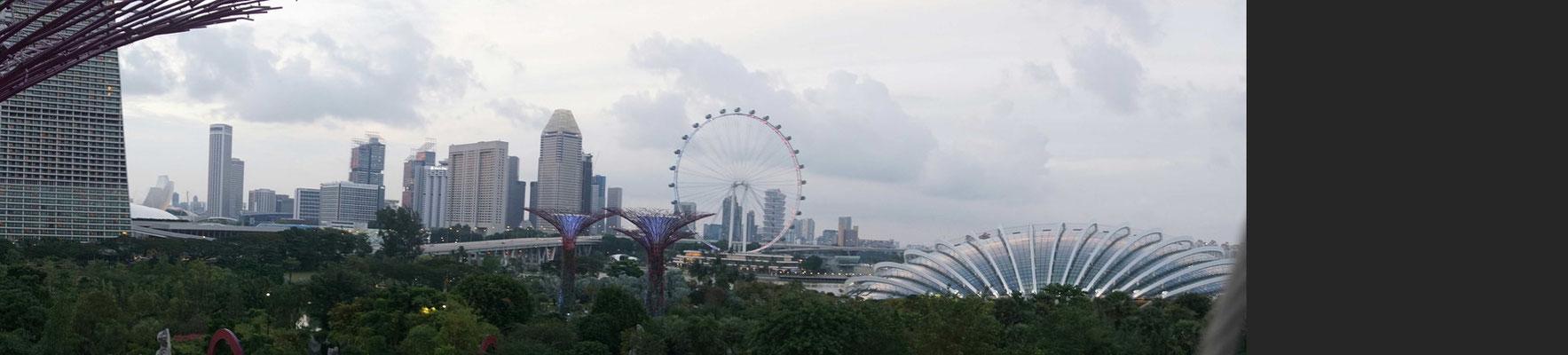 Singapur - Downtown - mit Singapur Flyer (Riesenrad)...