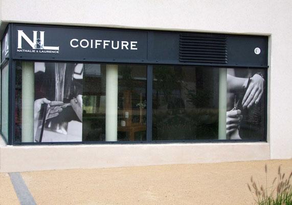 logo,N&L Coiffure et microperforé