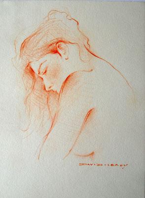 Jeune femme - 17 x 23 (45x35)  - sanguine