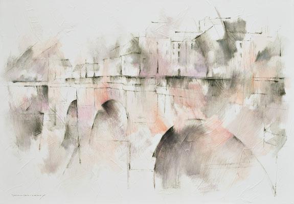 Harmonie rose et gris - 116 x 81 - huile / toile