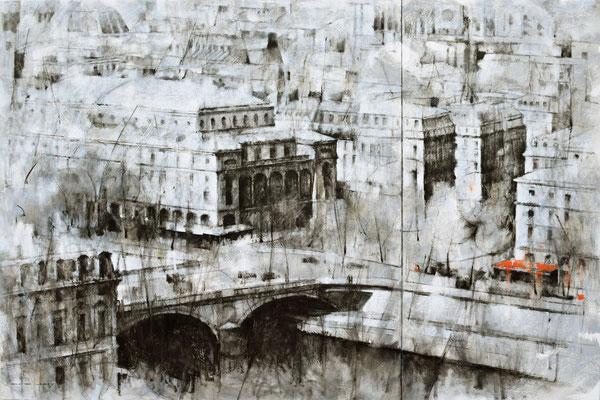 Les arches de la nuit - 120x180 - huile / toile