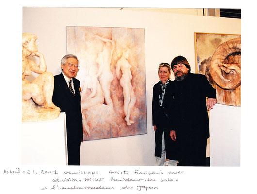 2001_1102 Artistes Français (Auteuil) avec Christian Billet et l'ambassadeur du Japon