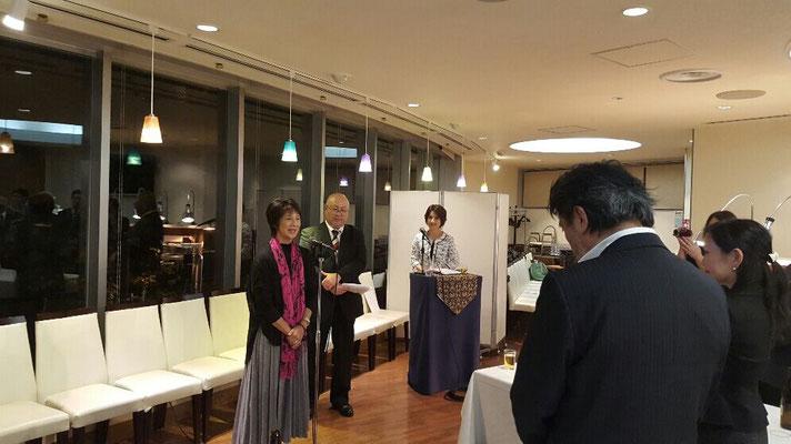 モールオブジャパンの計画発表懇親会。挨拶しているのはジャネットホンダさんと義兄の追分健爾氏。 (Mall of Japan concept launching party. The speakers are Ms. Janet Honda and her brother in law, Mr. Kenji Oiwake.)