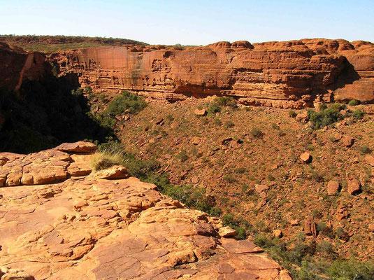 Die Felswände des Kings Canyon bestehen aus rotem und gelbem bis weißem Sandstein. Die Wände des Canyons sind teilweise über 300 m hoch. Der Sandstein, dessen rote und gelbliche Farbe aus Eisenoxiden (Hämatit und Limonit) resultiert, ist stark kleinteilig