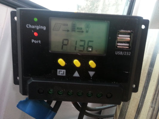 Charging the battery with solar energy!