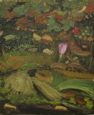 Gras, Laub und Blüte. 2017. Öl auf Leinwand. 39 x 32 cm