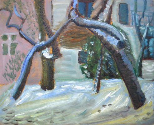 Bäume im Winter. 2014. Öl auf Hartfaser. 40 x 49 cm