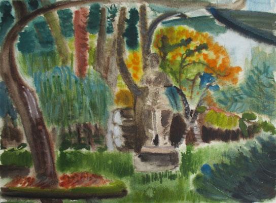 Garteninterieur mit Torso. Lüttenort, 2017. Aquarell. 36 x 47,8 cm