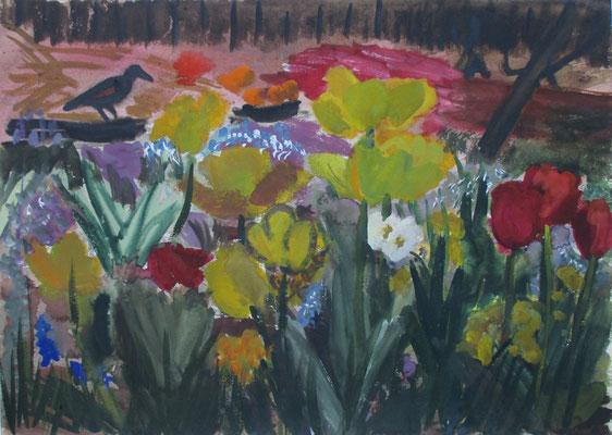 Tulpen am Kompost. 2016. Aquarell. 36,5 x 50,8 cm
