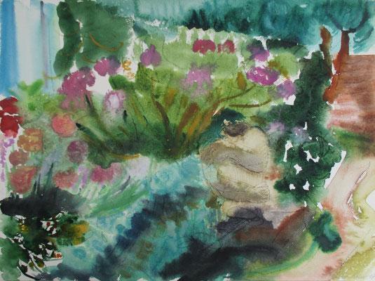 Hockende vor Hortensien. Lüttenort, 2017. Kohle, Aquarell. 36 x 47,8 cm