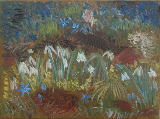Frühlingsblüher. 2018. Öl auf Leinwand. 30 x 40 cm