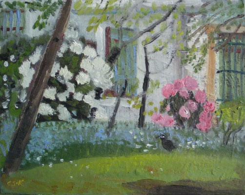 Rhododendron hinterm Haus. 2015. Öl auf Malpappe. 24 x 30 cm