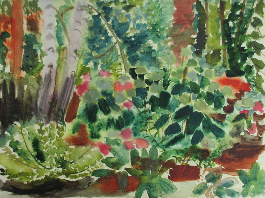 Gartenstück mit Hortensien. 2017. Aquarell. 36 x 47,8 cm