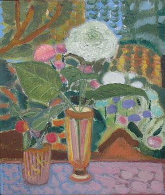 Stillleben mit Hortensie. 2016. Öl auf Leinwand. 61 x 52 cm