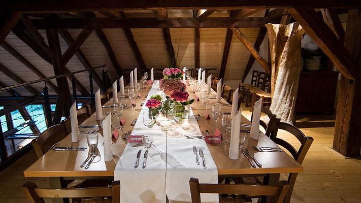 Stilvoll feiern in der Kelter in Notzingen - bis zu 90 Personen - mit grünem Gastgarten