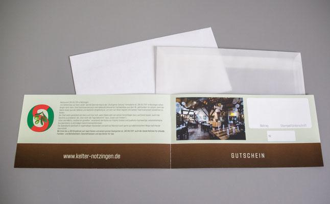 Der Wertgutschein für die Kelter in Notzingen - Der Gutschein mit Umschlägen