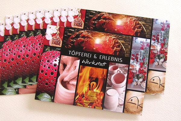 Flyer gestalten individueller Werbeträger Karte DIN A6 148 x 105 mm 400g Bilderdruck matt beidseitig bedruckt Fotografien und Unternehmensdaten in Szene gesetzt
