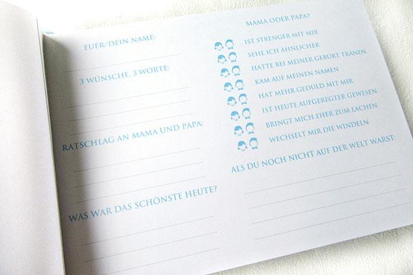 Taufbuch selbst gestalten Taufgästebuch mit Gästefragen individuelles Layout Druck auf 270g Fotokarton weiß handgefertigter Buchblock