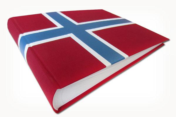 Fotoalbum Norwegen Buchbindeleinen rot weiß blau Erinnerungsalbum Urlaub Landesfarben Flagge Hurtigruten Nordkap Norge 35cm x 25cm x 5cm 100 Seiten mit Pergaminzwischenblättern