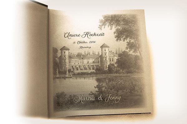 Bedrucktes Vorsatzpapier im Hochzeitsalbum eigenes Foto und Text gesetzt gedruckt gebunden
